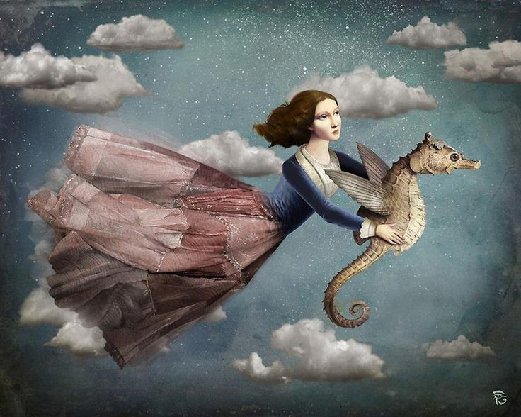 art is a gateway to our unconscious dreams. this sea horse is taking me there ~ hold on tight.   art by Christian Schloe