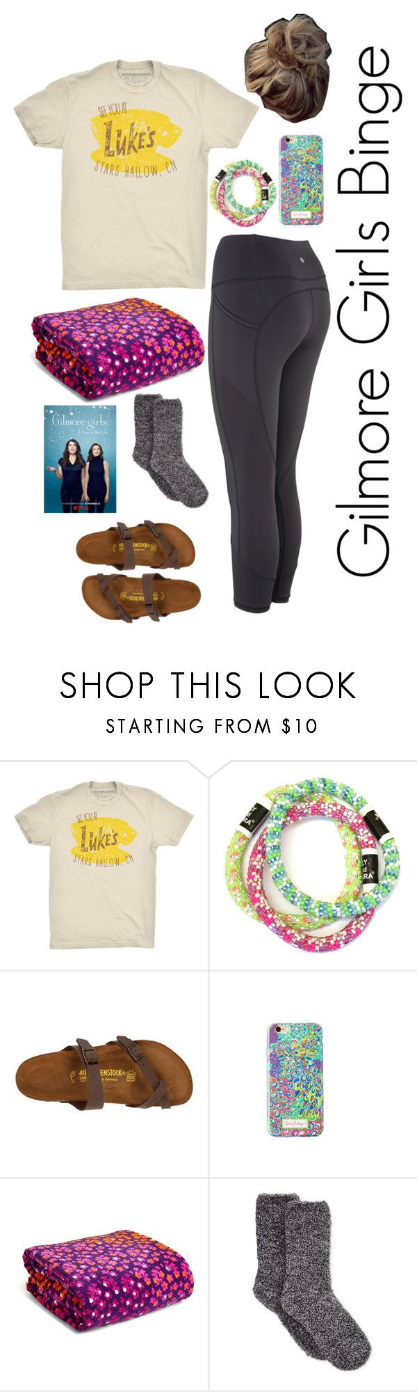 """""""Gilmore Girls Binge Day"""" by mirandamf on Polyvore featuring Birkenstock, Lilly Pulitzer, Vera Bradley and Charter Club"""