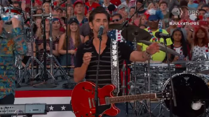 "John Stamos, performing at an Independence Day celebration, donated a drum set he ""always dreamed of having as a kid"" to a retired Marine and his family."