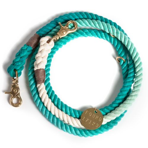 Teal Ombre Rope Dog Leash, Adjustable