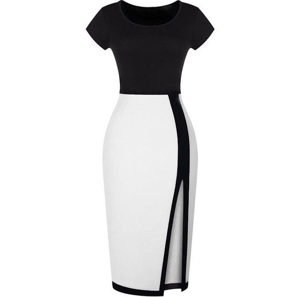 Split Slim Black and White Dress (€13) ❤ liked on Polyvore featuring dresses, vestidos, short dresses, robes, black and white, black and white dresses, long cocktail dresses, short sleeve cocktail dresses, cap sleeve sheath dress and long sleeve dress