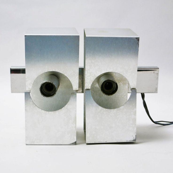 Applique double en métal brossé Années 60 by Pergay | modernariato