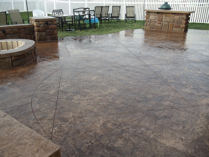 14 best images about stamped concrete with firepit on for Fire pit on concrete slab