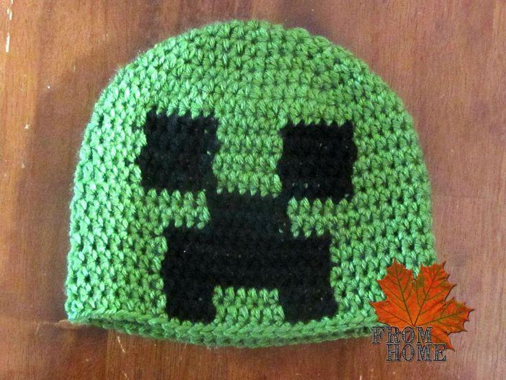 #Minecraft Creeper pattern. #crochet #hat possible gift idea??? instead of party bags | http://Biltong.Ninja