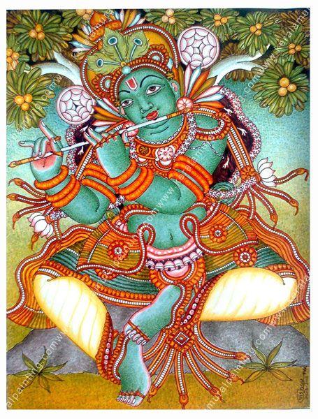 Lord Krishna Kerala Mural Painting