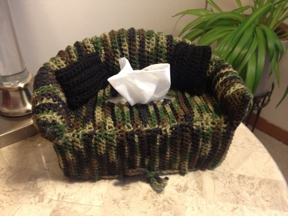 made to order camo couch tissue box cover by