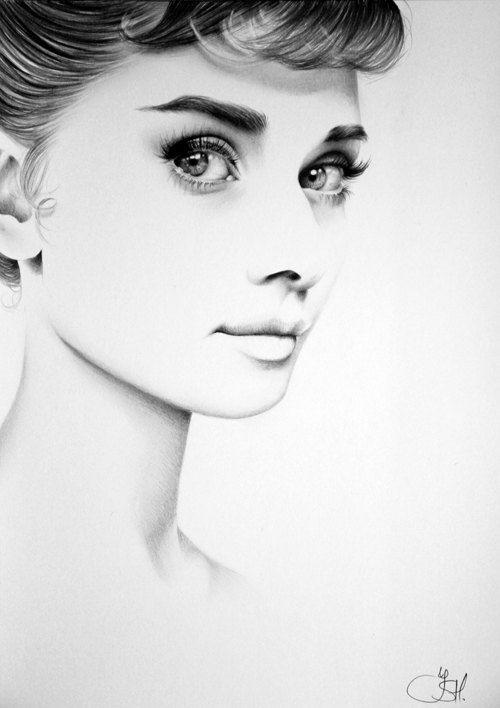 Audrey Hepburn arte retrato dibujo a lápiz firmado por IleanaHunter