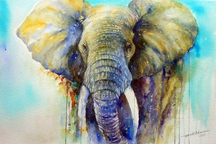 "Saatchi Online Artist: Arti Chauhan; Watercolor 2013 Painting ""The Gentle Giant"""