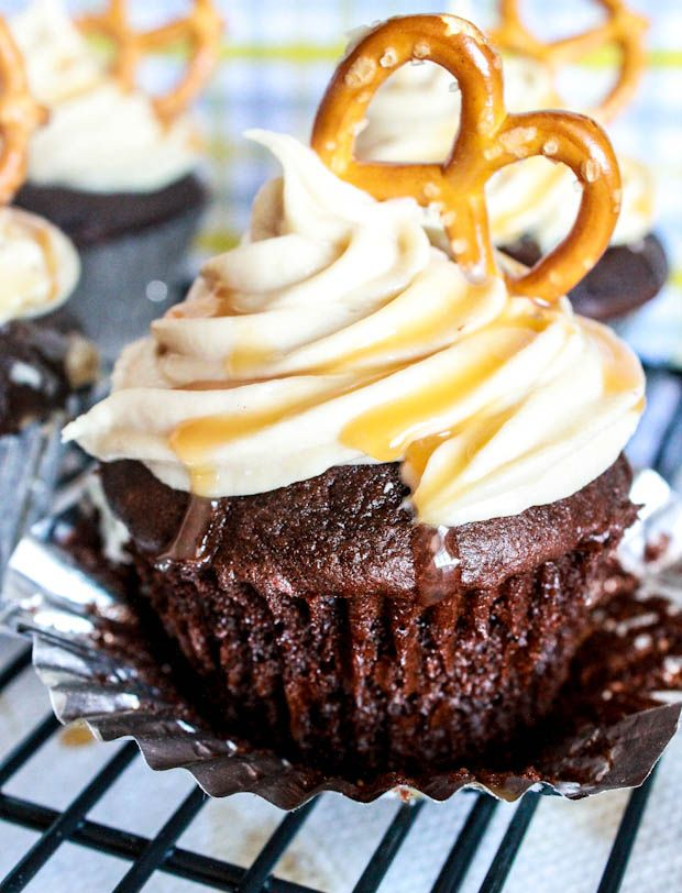 Chocolate Fudge Cupcakes with Salted Caramel Frosting by Sallys Baking Addiction