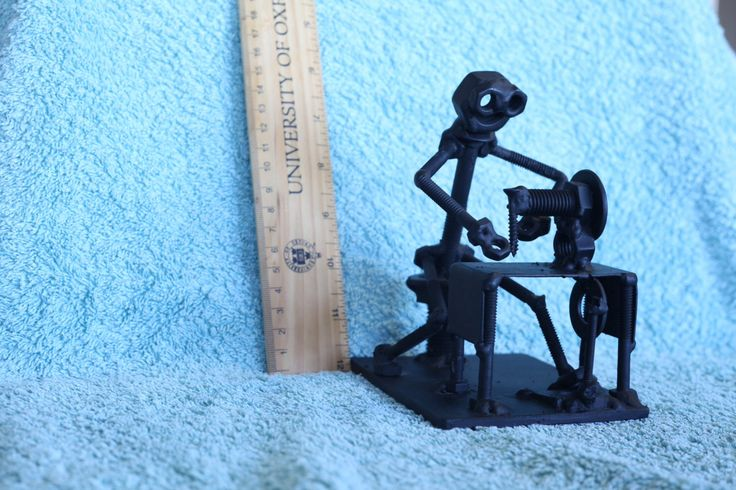 Sewing Lady Figurine. Nuts and Bolts Metal Artwork. Sewing Lady Statue. by ShedShenanigans on Etsy https://www.etsy.com/au/listing/465783909/sewing-lady-figurine-nuts-and-bolts