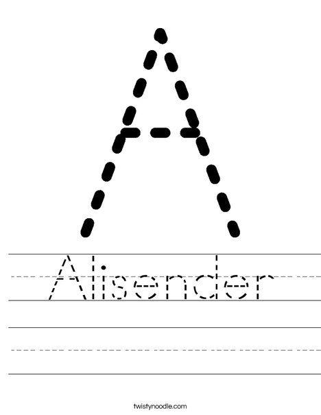 Alisender Worksheet - Twisty Noodle | Preschool worksheets ...