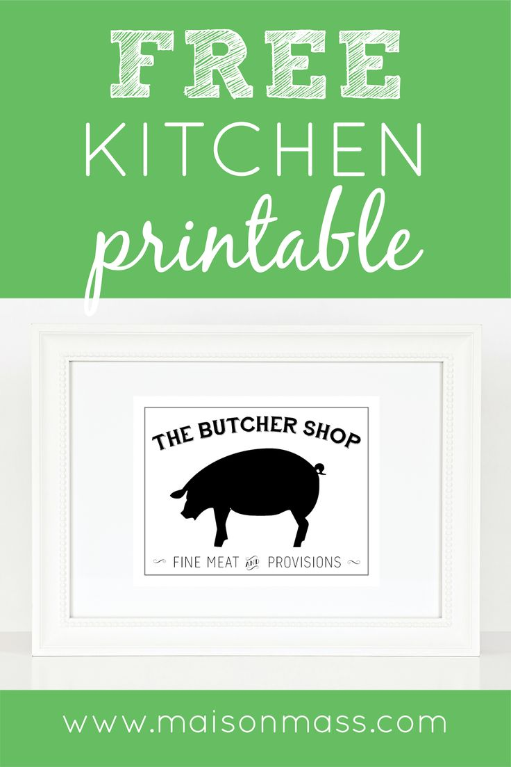 Printable kitchen art - Butcher Shop Printable Available In Our Resource Library Kitchen Art Printable Digital Art