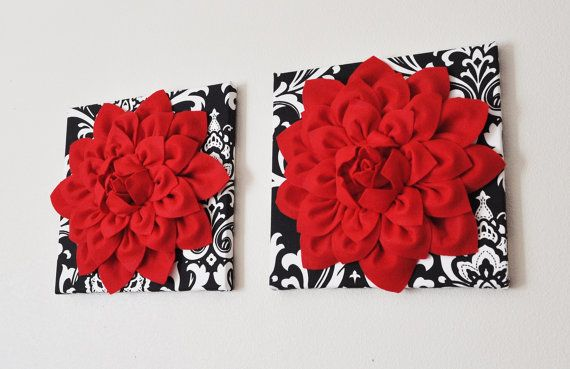 "Holiday Wall Hanging Set -Red Dahlia Flowers on Black and White Damask Print 12 x12"" Canvas Wall Art- Baby Nursery Wall Decor- on Etsy, $66.00"