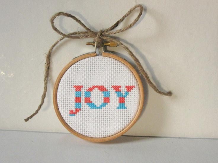 striped joy cross stitch christmas ornament kit blue and red 1200 via etsy