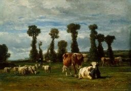 Constant Troyon,Barbizon, Pasture In Normandy 1852, 15 1/8 x 25 5/8, oil on board