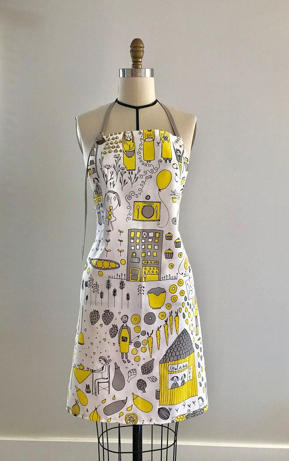Farm to table yellow and grey cotton apron