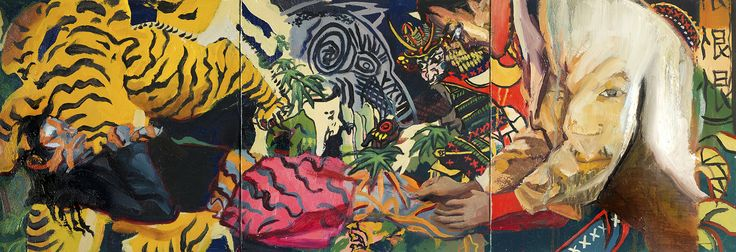 "Predator Oil on canvas 12"" x 36"" www.laurenhanachai.com IG @laurenhanachai"