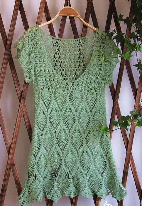 CARAMELO DE CROCHET: túnica verde