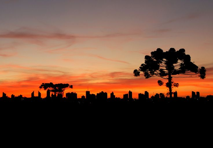 Skyline no pôr do sol da cidade de Cascavel no Paraná.