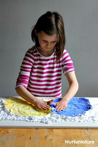 color mixing theory for kids - shaving cream