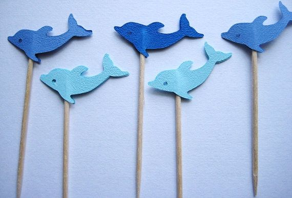 24 Mixed Blue Dolphin Party Picks - Cupcake Toppers - Toothpicks - Food Picks - die cut punch FP294