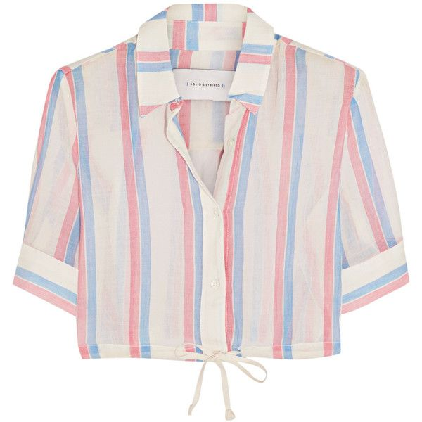 Solid and Striped Cropped striped cotton top (€78) ❤ liked on Polyvore featuring tops, red, drawstring top, red crop top, striped crop top, pink top and cut-out crop tops