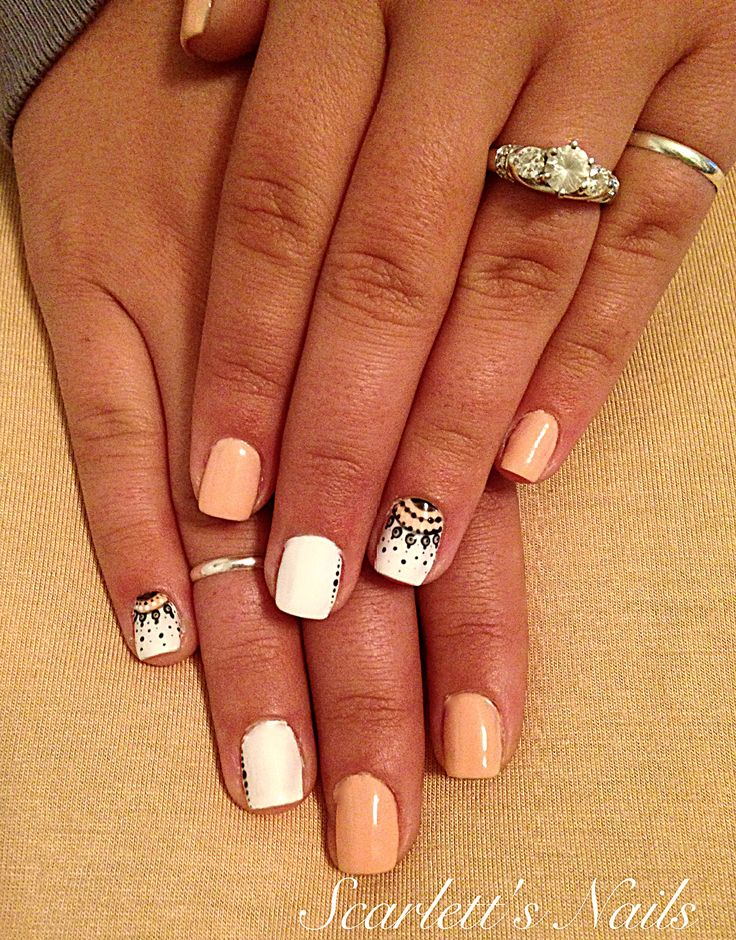 Peach black and white polka dot chandelier lace spring or summer shellac nails #scarlettsnails