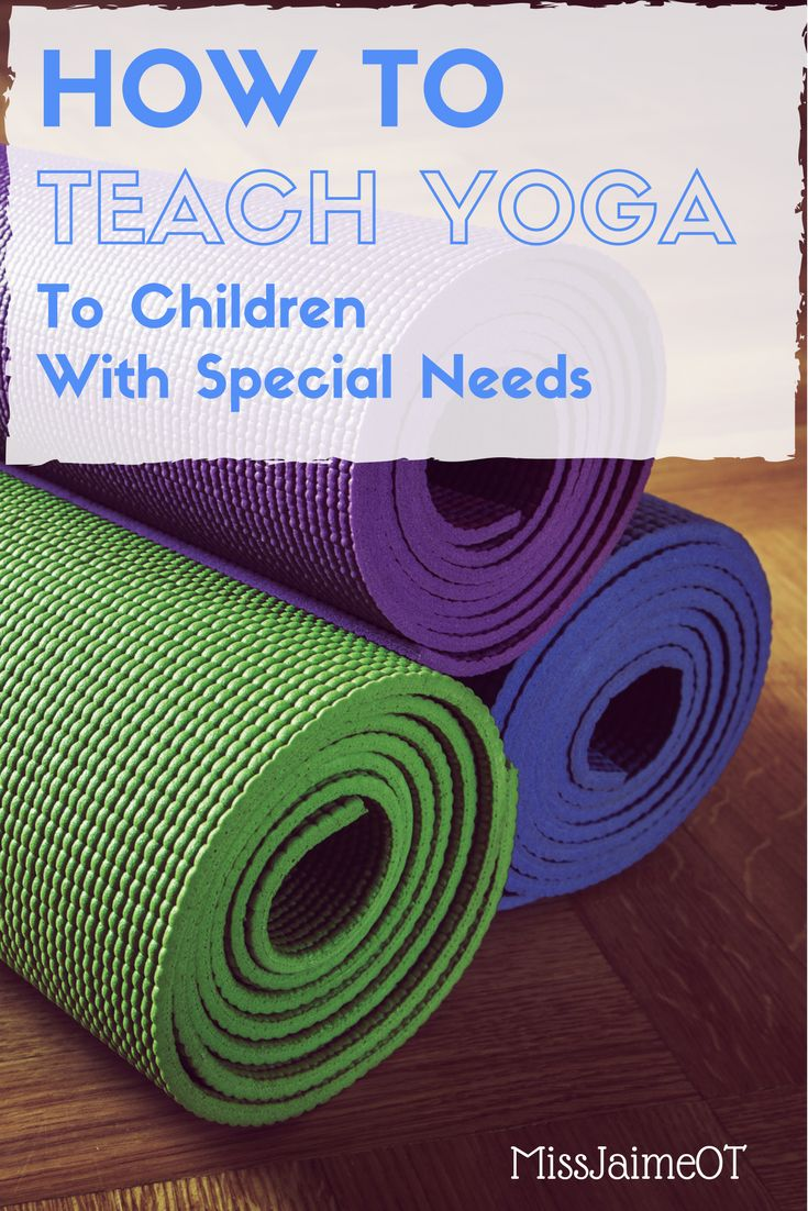 Great ideas for teaching yoga to children with special needs! 5 tips for teaching yoga to kids or teaching a whole class of kids. Perfect for increasing core strength, gross motor coordination, etc. ! @MissJaimeOT