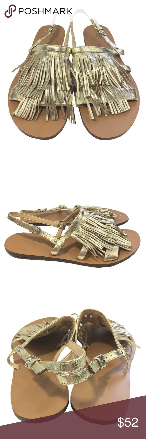 J. CREW FINGE SLINGBACK SANDAL_#123_59 J. CREW FRINGE SLINGBACK SANDALS. PALE GOLD. SILVER HARDWARE. MADE IN MOROCCO. FABRIC: ITALIAN LEATHER. CONDITION: NIBWTS* J. Crew Shoes Sandals