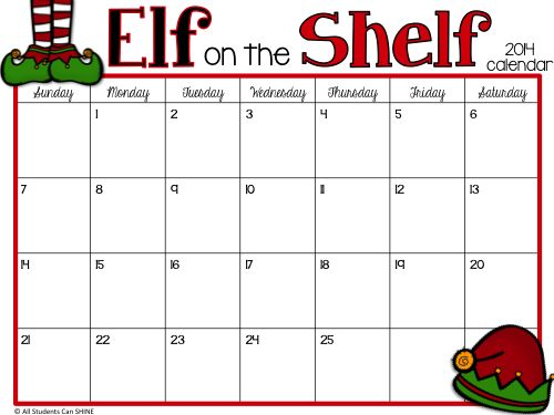 Elf On The Shelf - Let's Get This Party STARTED! FREE printable calendar for planning your elf antics :)