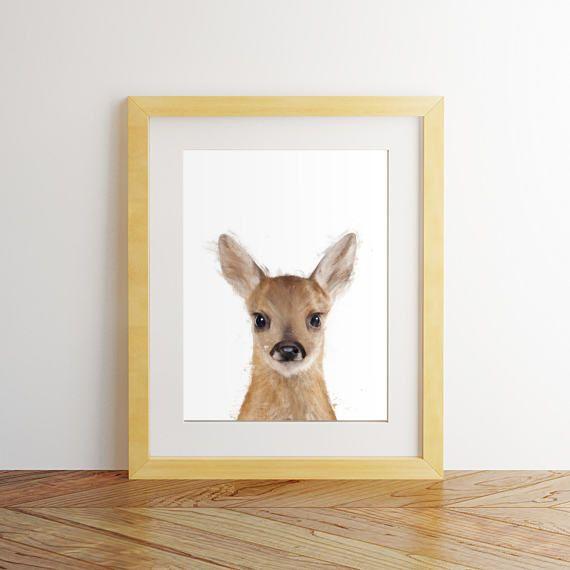 Deer print, Deer wall art, Nursery decor, Nursery wall art, Deer watercolor, Deer painting, Deer head print, Animal art, Baby animals by mimaartprint.