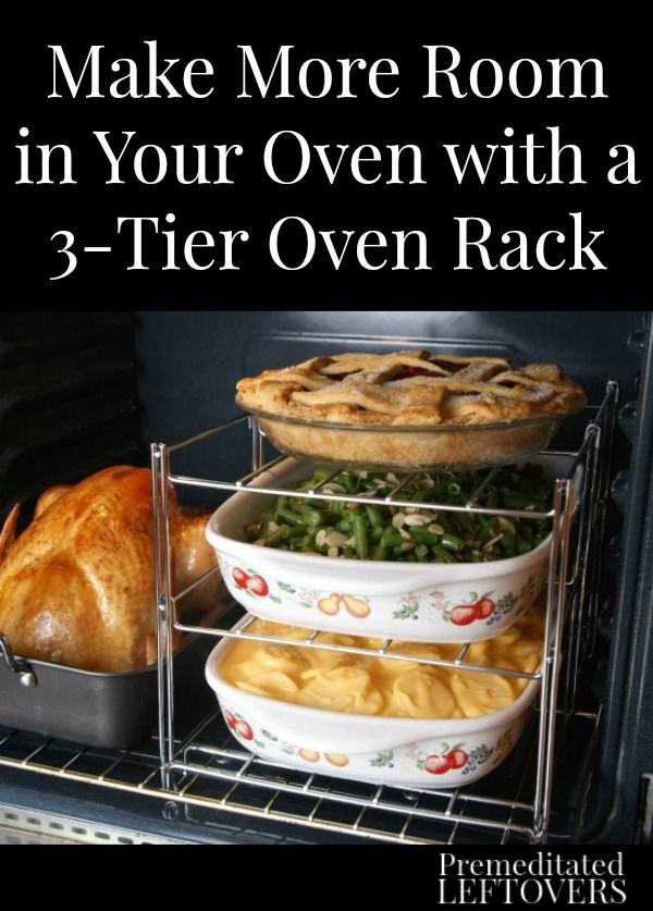 How to make more room in your oven using a 3-Tier Oven Rack to allow you to cook several side dishes while you cook your main dish.Easy Holiday Cooking Tip!