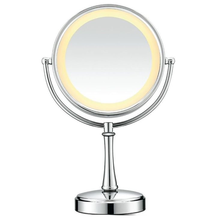 lighted makeup mirror wall mount bed bath and beyond travel canada polished chrome touch control conair