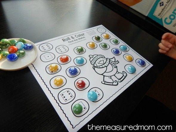 Получите пять бесплатных зимний ролл и цвета игры для детей дошкольного и детский сад!