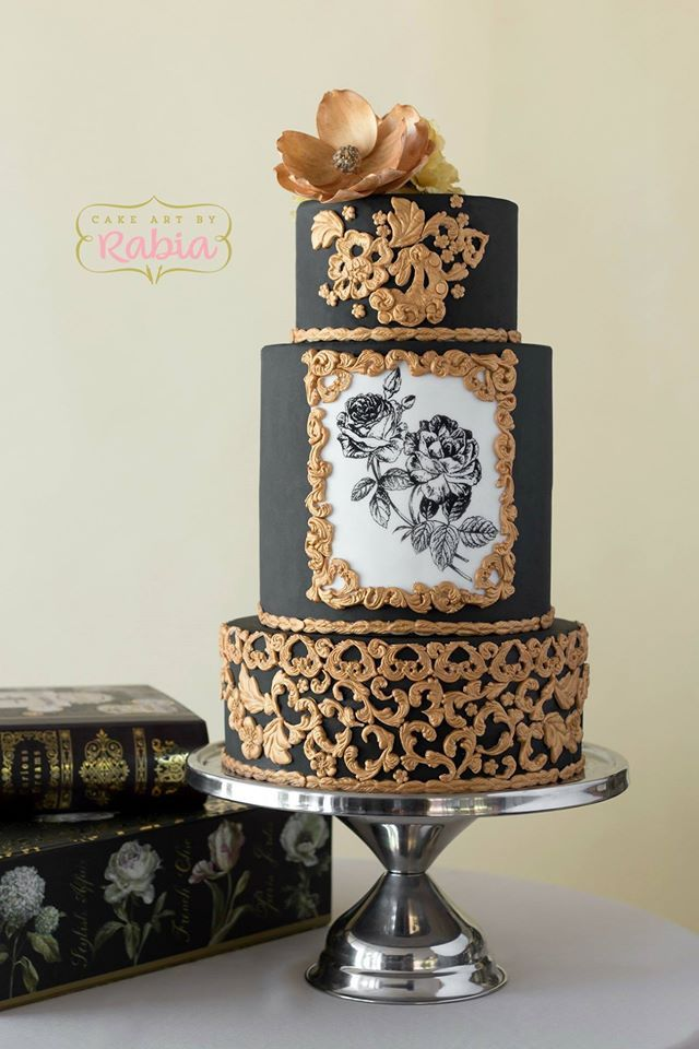 Black Gold With Painted Roses Cake
