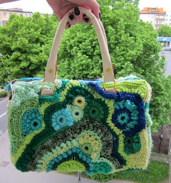 Borneo a medium freeform crochet  bag city by handmadestreet101