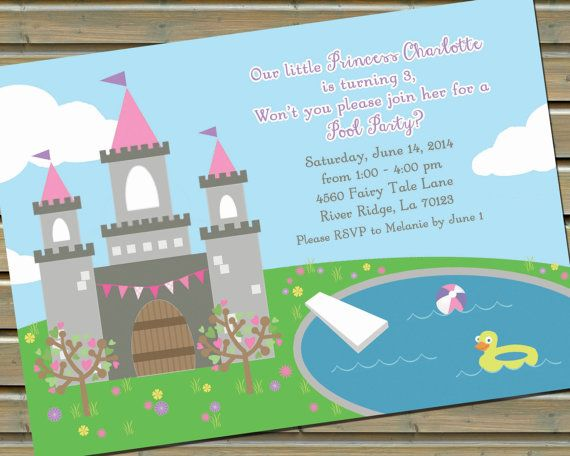 30 Printed Princess Pool Party Invitations by TwinspiringDesign