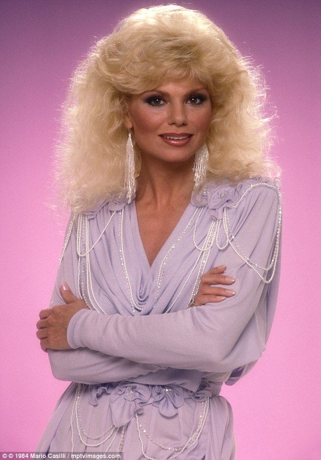 Partners in Crime's Loni Anderson in lilac and pearls (and a LOT of make-up) in 1984