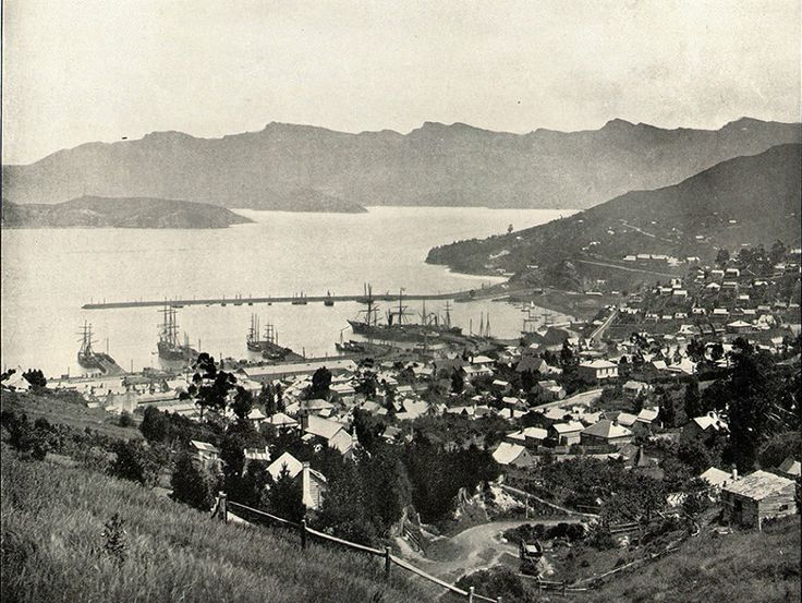 View of Lyttelton Harbour, believed to be taken some time in the 1890s.