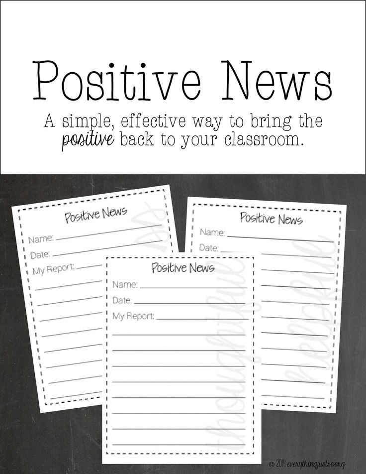 Positive News | Bring the positive back to your classroom with this simple resource. Students become reporters on the look out for the good happening around them and share their findings with the class. | everythingjustso.org