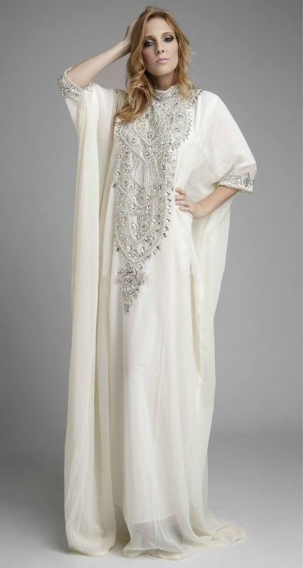 2013 New Kaftan High Collar Beaded White Chiffon Long Sleeve Maxi A-Line Abayas Wrap Dubai Arabic Muslim Wedding Dress