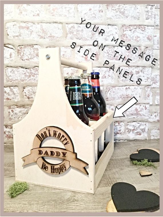personalised beer carrier fathers day gift wooden beer carrier 5th anniversary gift