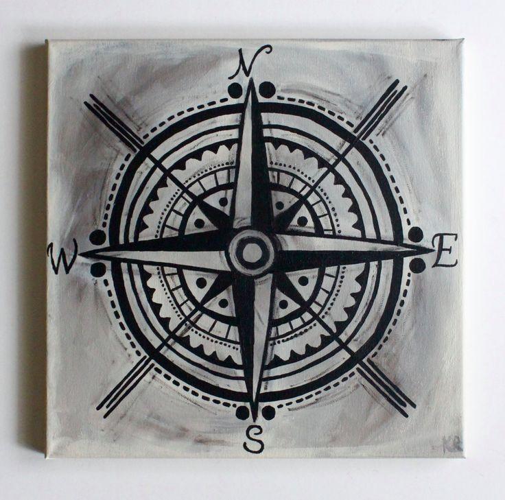 Compass Rose, Compass Art, Bohemian Art, Nautical Art, Beach Decor, Handmade, Acrylic Painting, Canvas Art, 12x12 Canvas by fiberandgloss on Etsy