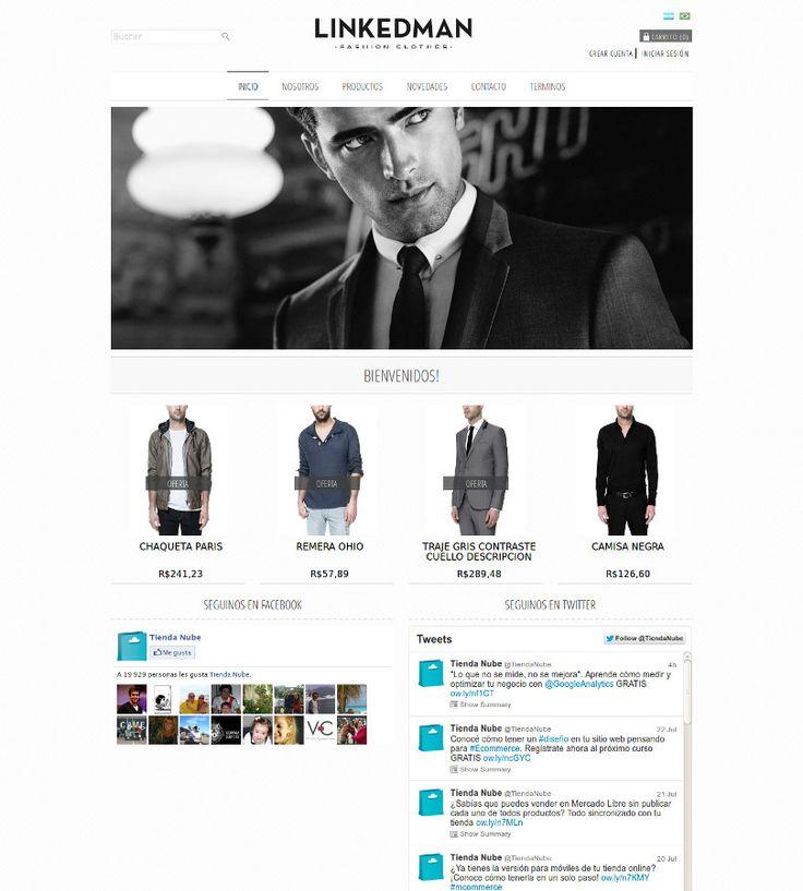 """#DiseñosNube: conocé nuestra plantilla """"LinkedMan"""" orientada al rubro de indumentaria masuclina. Encontralo en #TiendaNube. #DiseñoWeb #TiendaOnline"""