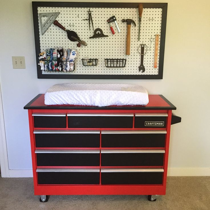 "Craftsman Toolbox Dresser - My wife and I are expecting our first baby Boy in December-- ""Workshop"" nursery theme."