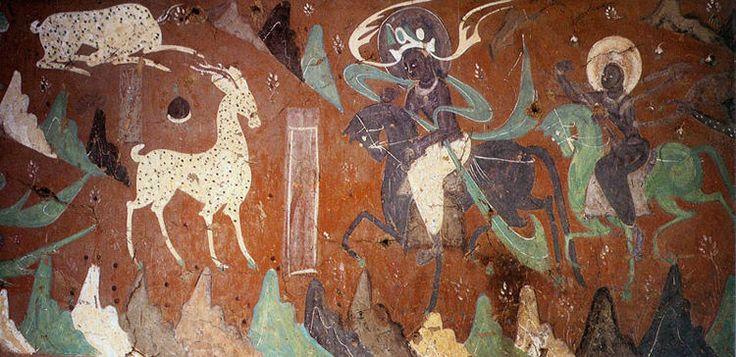 九色鹿。这故事童话气氛很重,敦煌壁画中只有一幅。讲释迦曾是毛有九色的鹿,救了一个遇溺的人。同夜王后梦见九色鹿﹐想猎来做衣饰。遇溺者带国王前去﹐被九色鹿怒斥见利忘义。最后国王不加害於鹿,遇溺者则遍体生疮,王后亦恚恨而死。