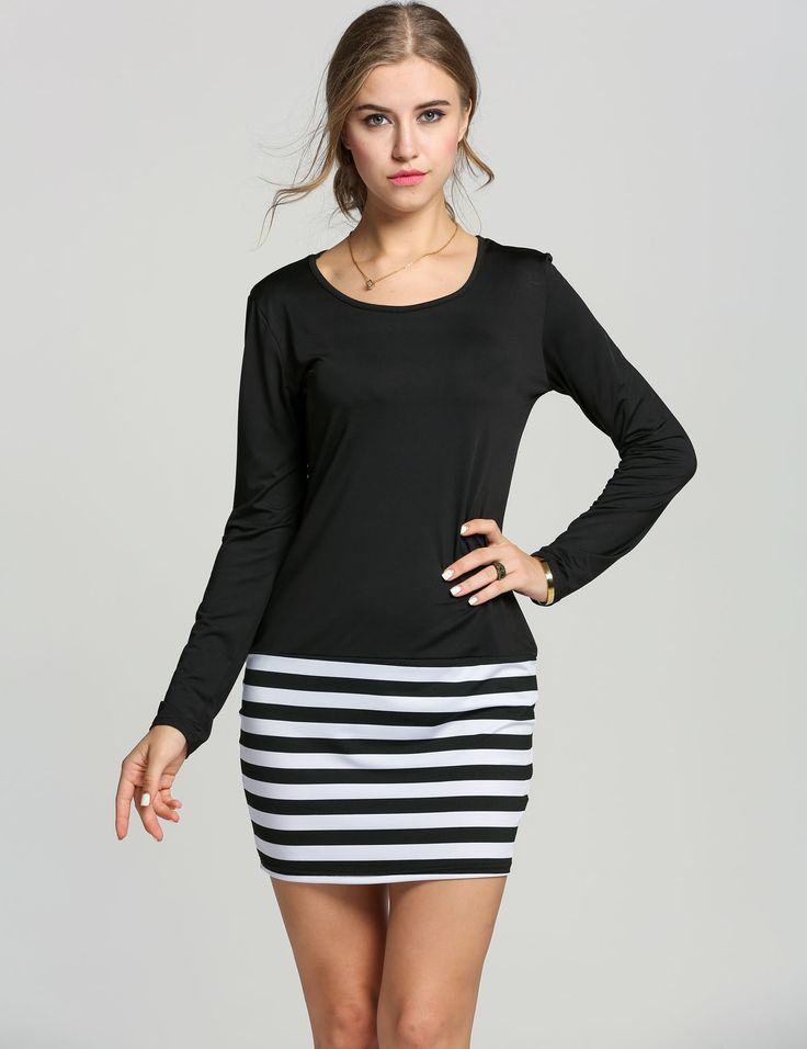 Black Lady Women Long Sleeve Sexy Bodycon Slim Mini Casual Work Dresses