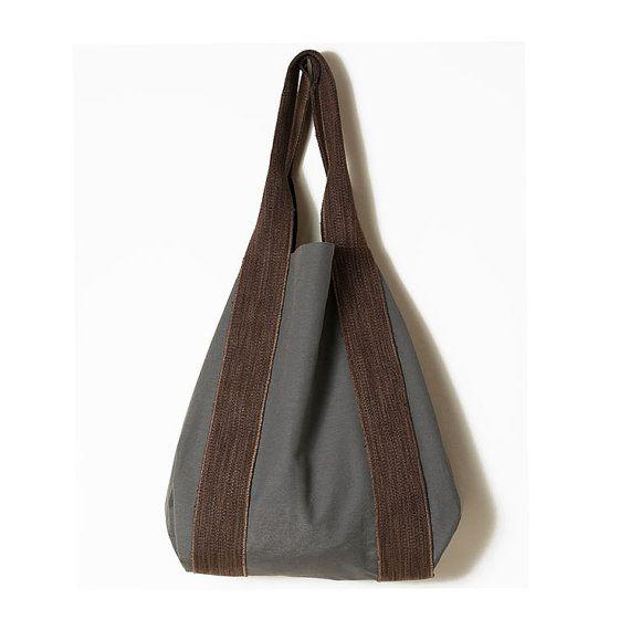 Gray brown minimal bag  Grey shoulders large by ElenaVandelliBags