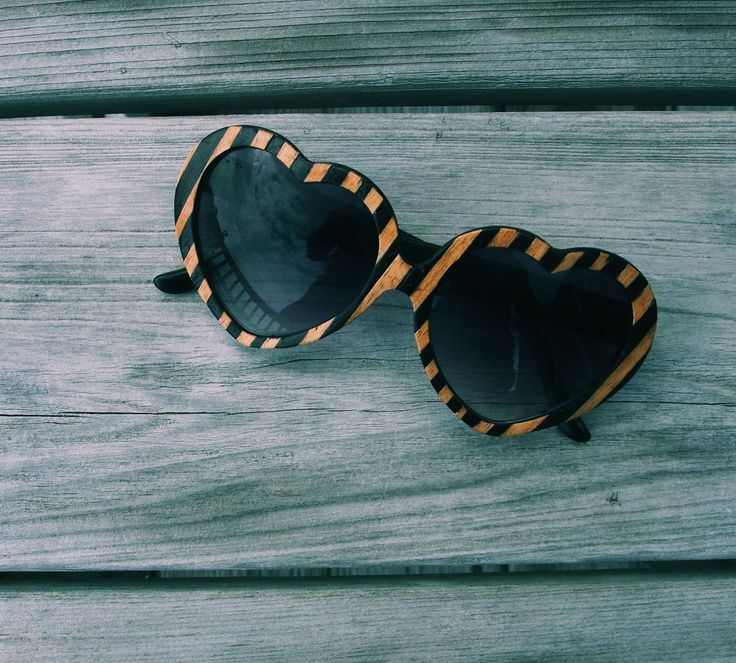 Heart Sunglassses by tumbleweedshandcraft: Originally handcrafted of ebony and light poplar veneer. #Sunglasses