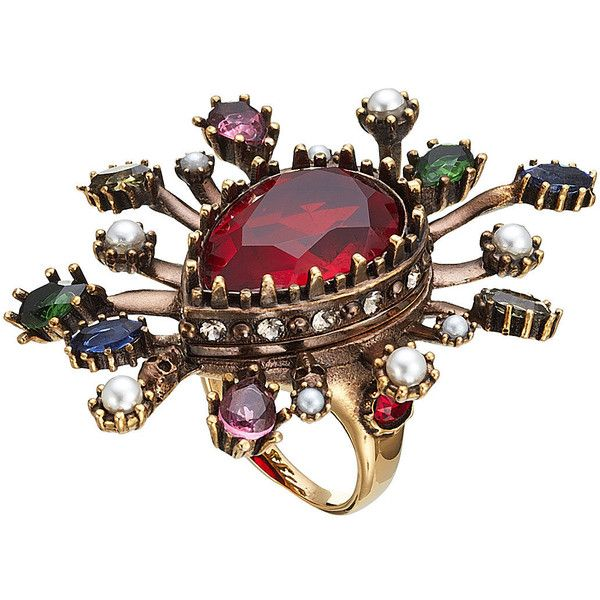 Embellished Ring Alexander McQueen ($370) ❤ liked on Polyvore featuring jewelry, rings, alexander mcqueen, white pearl ring, pearl jewellery, pearl jewelry and alexander mcqueen ring